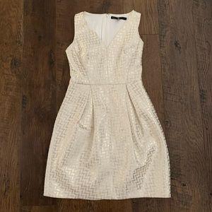 White House Black Market Cream Gold Chevron Dress
